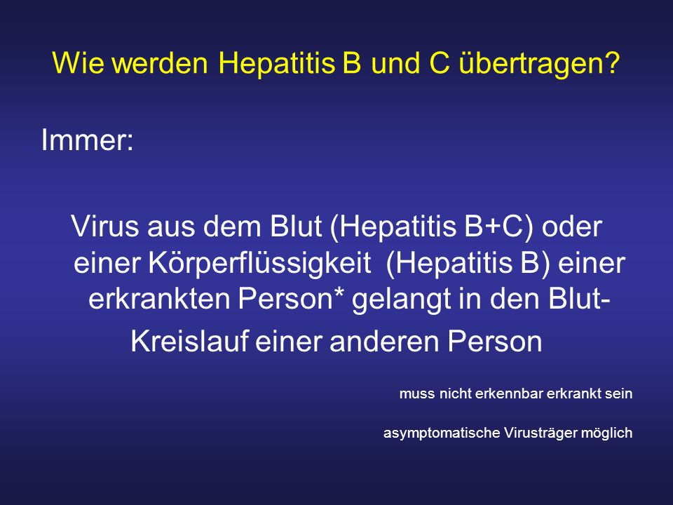 Wie werden Hepatitis B und C übertragen
