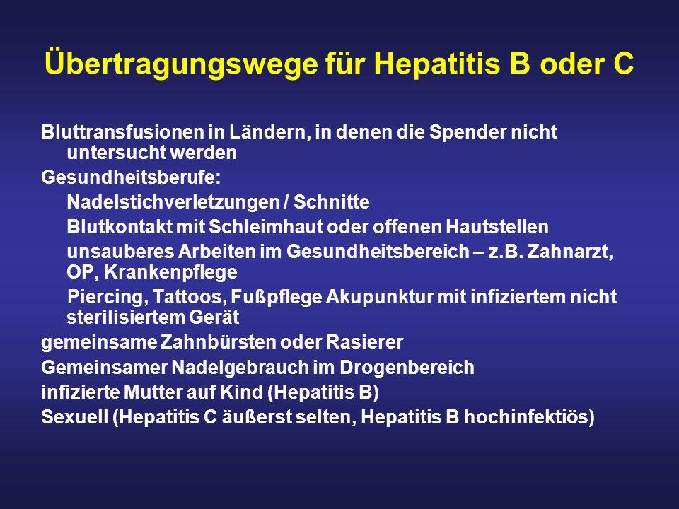 Übertragungswege für Hepatitis B oder C