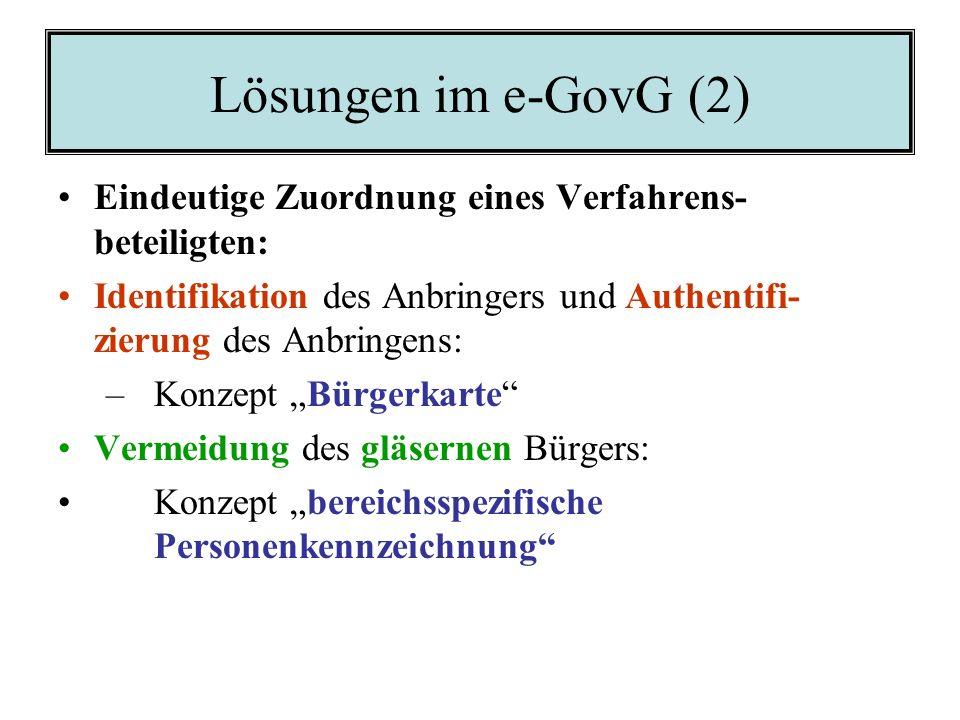 Lösungen im e-GovG (2) Eindeutige Zuordnung eines Verfahrens-beteiligten: Identifikation des Anbringers und Authentifi- zierung des Anbringens: