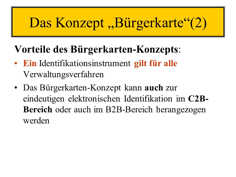 "Das Konzept ""Bürgerkarte (2)"