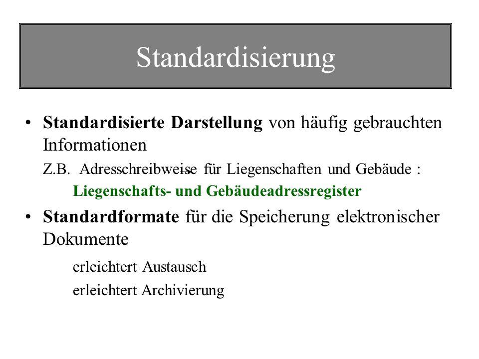 Standardisierung Standardisierte Darstellung von häufig gebrauchten Informationen.