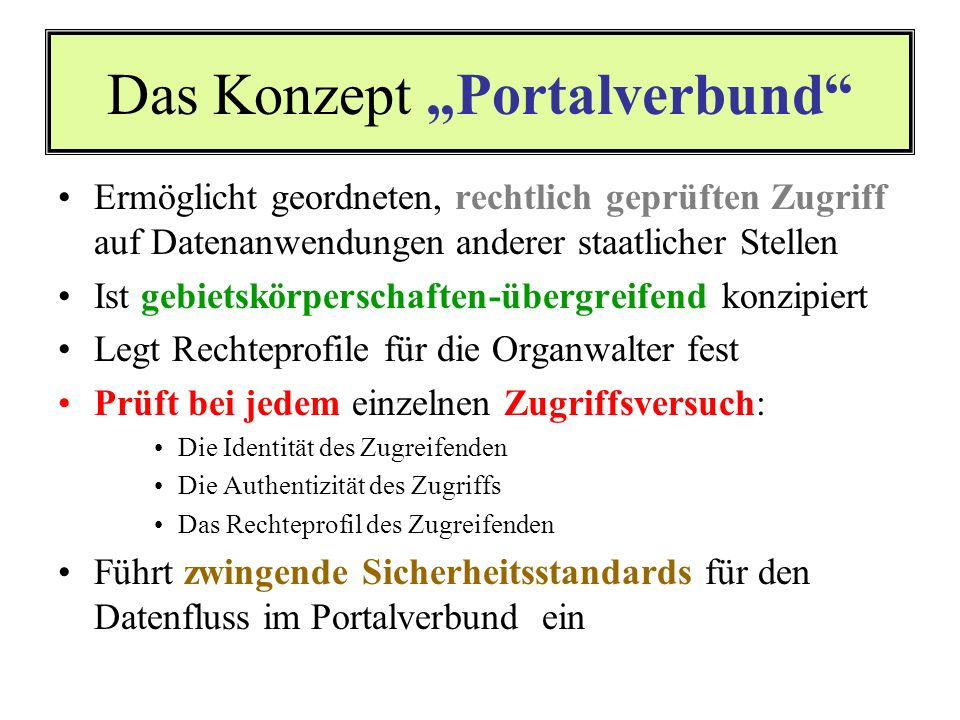 "Das Konzept ""Portalverbund"