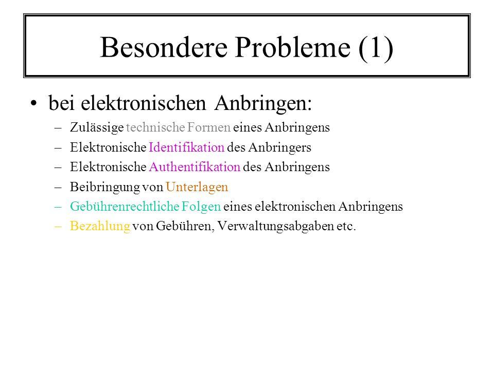 Besondere Probleme (1) bei elektronischen Anbringen: