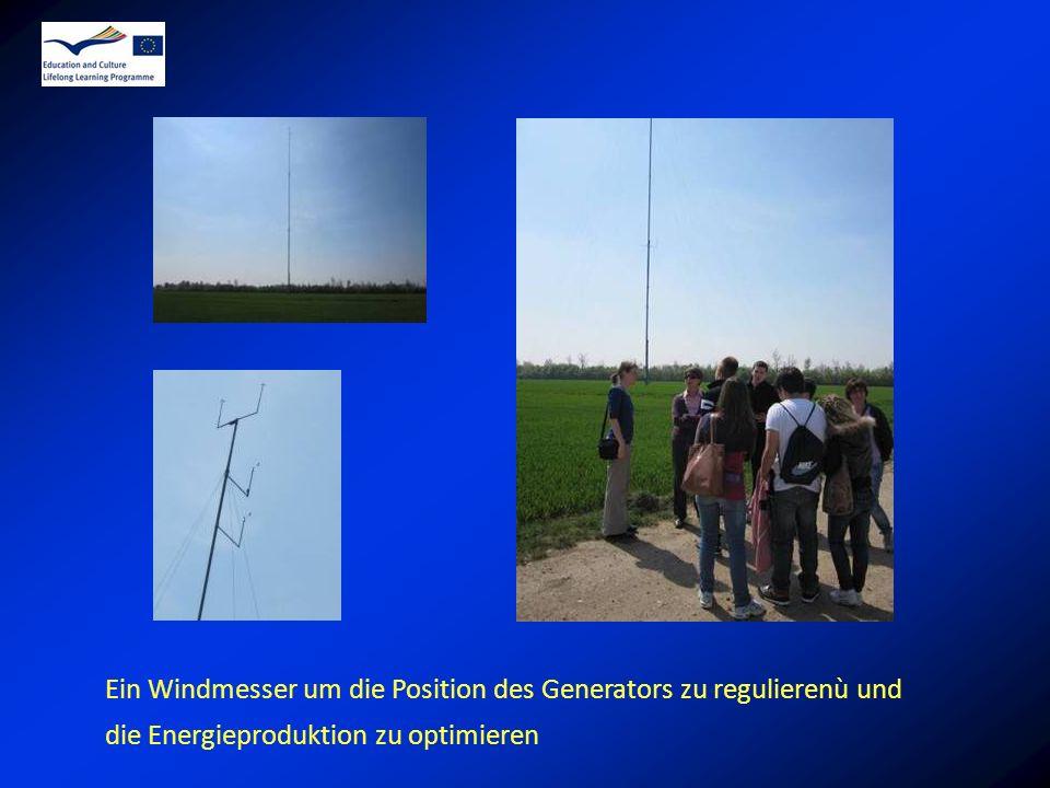 Ein Windmesser um die Position des Generators zu regulierenù und die Energieproduktion zu optimieren