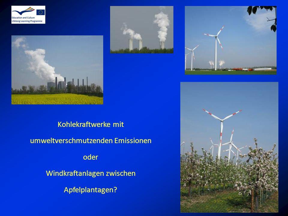 umweltverschmutzenden Emissionen oder Windkraftanlagen zwischen