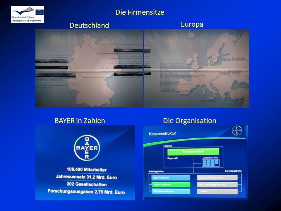 Die Firmensitze Deutschland Europa BAYER in Zahlen Die Organisation