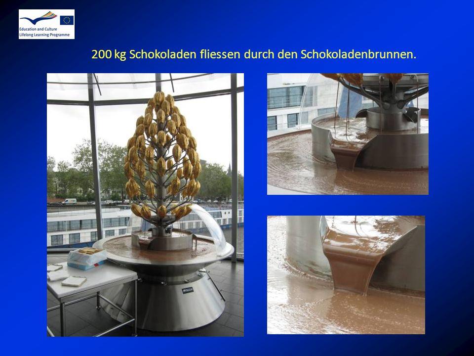 200 kg Schokoladen fliessen durch den Schokoladenbrunnen.