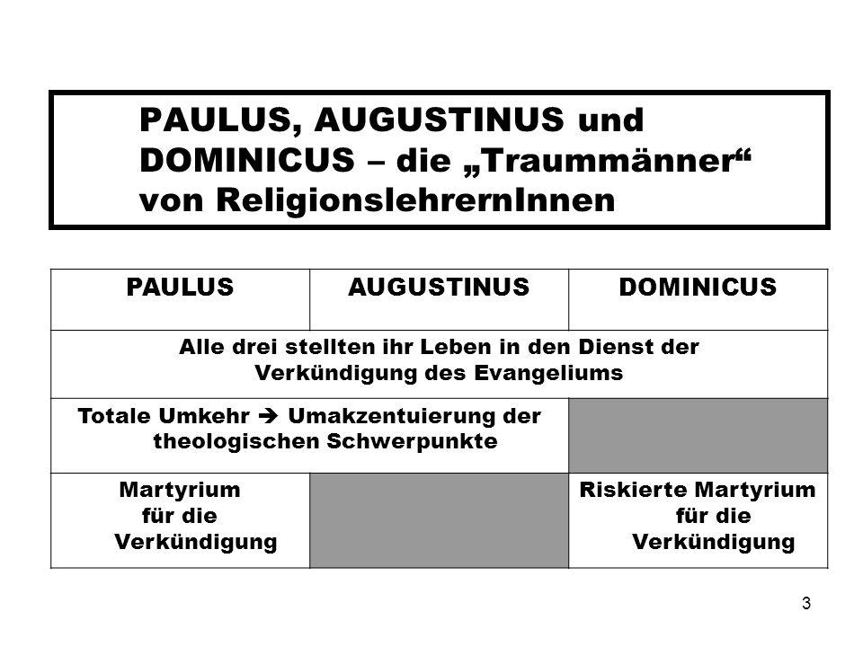 """PAULUS, AUGUSTINUS und DOMINICUS – die """"Traummänner von ReligionslehrernInnen"""
