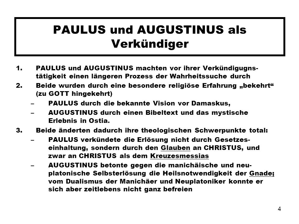 PAULUS und AUGUSTINUS als Verkündiger