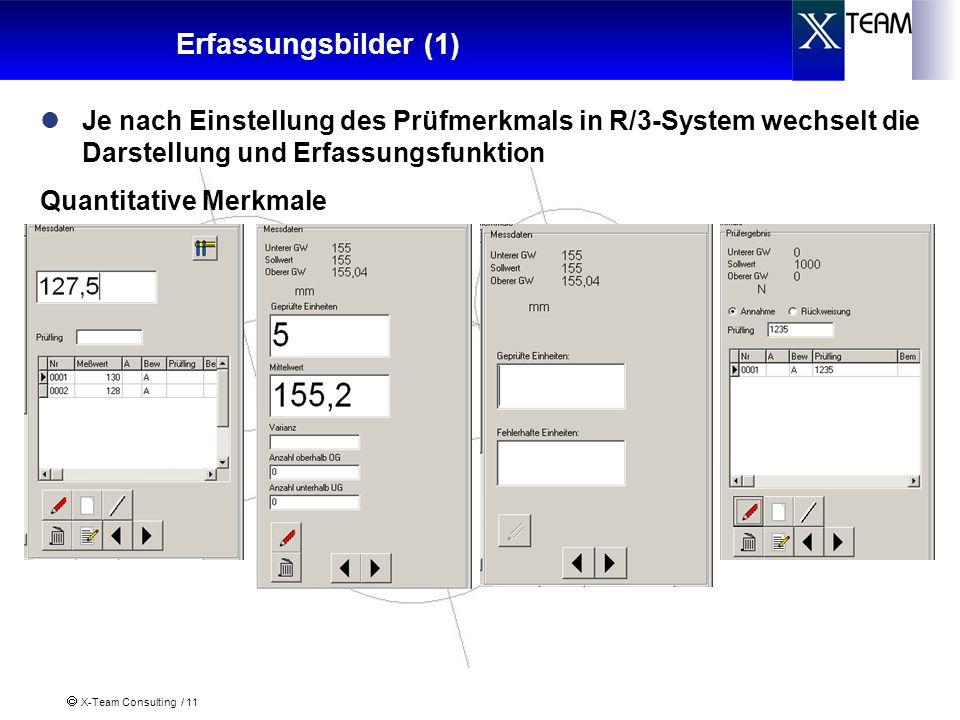 Erfassungsbilder (1) Je nach Einstellung des Prüfmerkmals in R/3-System wechselt die Darstellung und Erfassungsfunktion.