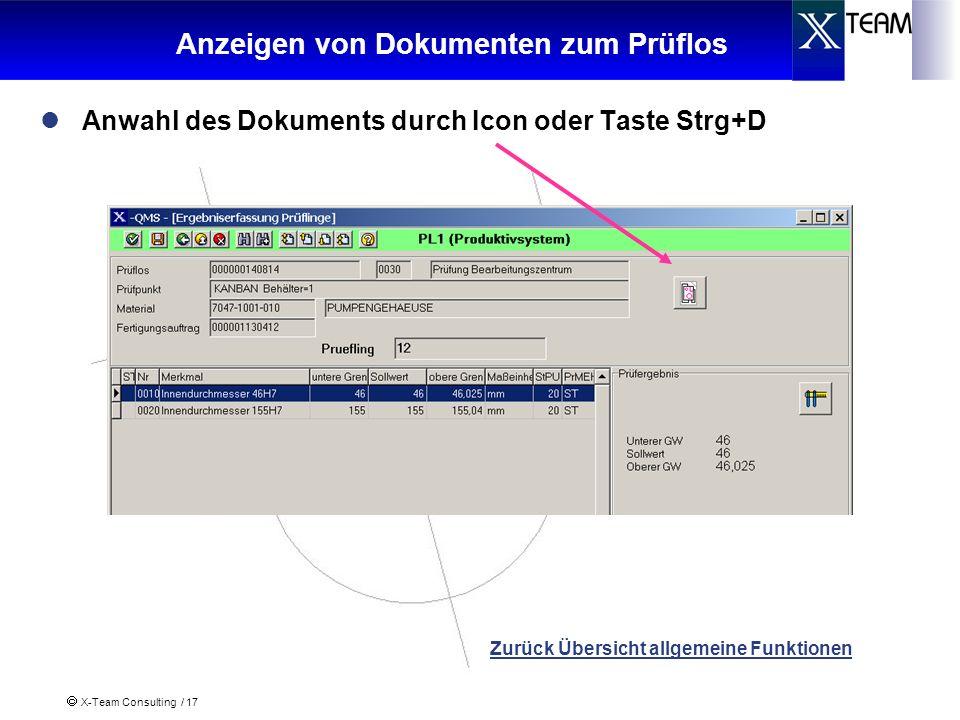 Anzeigen von Dokumenten zum Prüflos