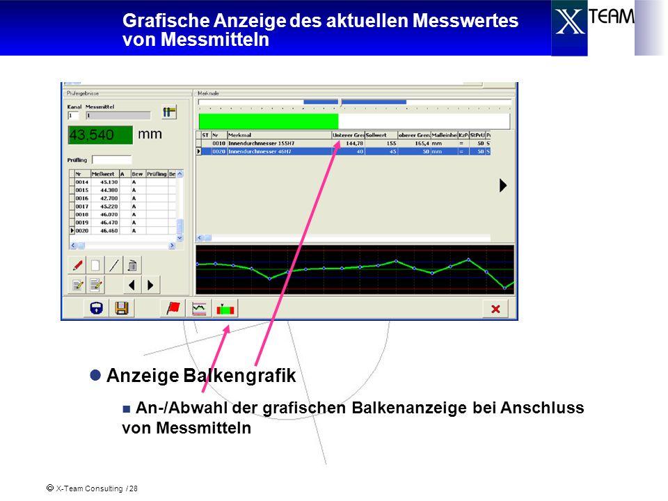 Grafische Anzeige des aktuellen Messwertes von Messmitteln