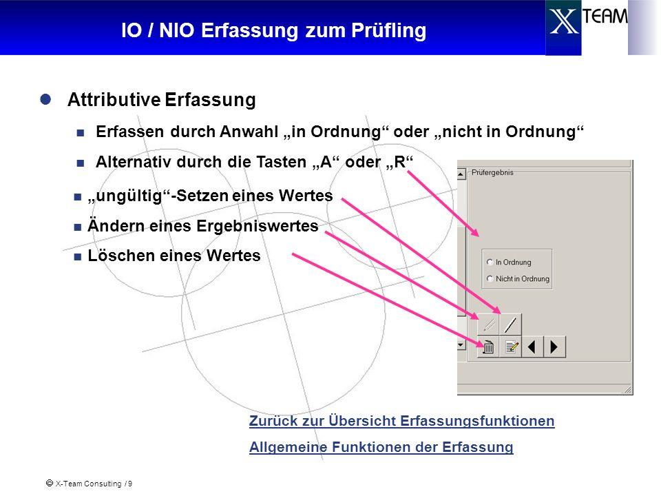 IO / NIO Erfassung zum Prüfling