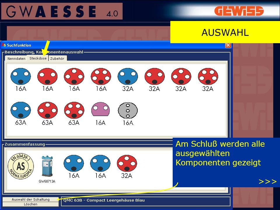 AUSWAHL Am Schluß werden alle ausgewählten Komponenten gezeigt