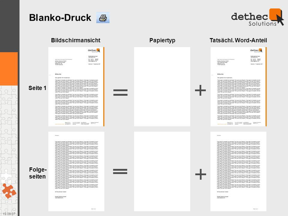 Blanko-Druck Bildschirmansicht Papiertyp Tatsächl. Word-Anteil Seite 1