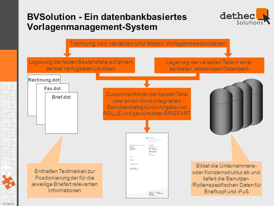BVSolution - Ein datenbankbasiertes Vorlagenmanagement-System