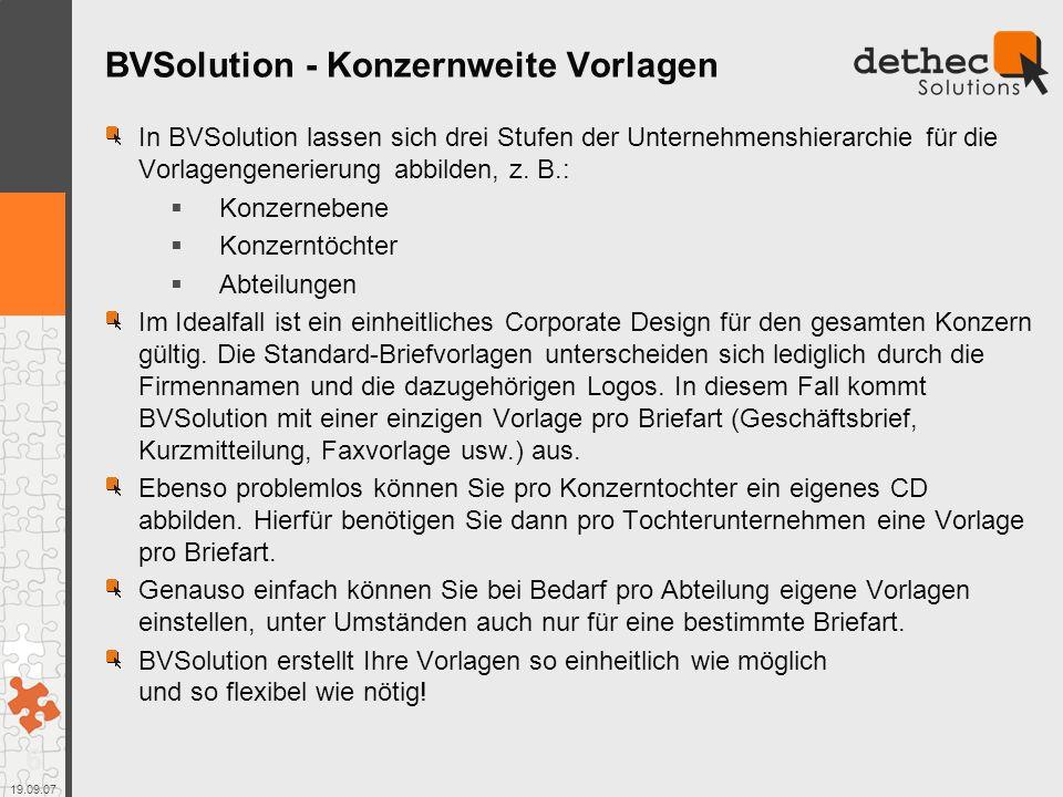 BVSolution - Konzernweite Vorlagen