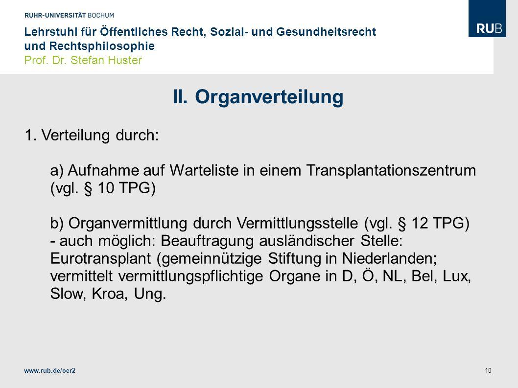 II. Organverteilung 1. Verteilung durch: