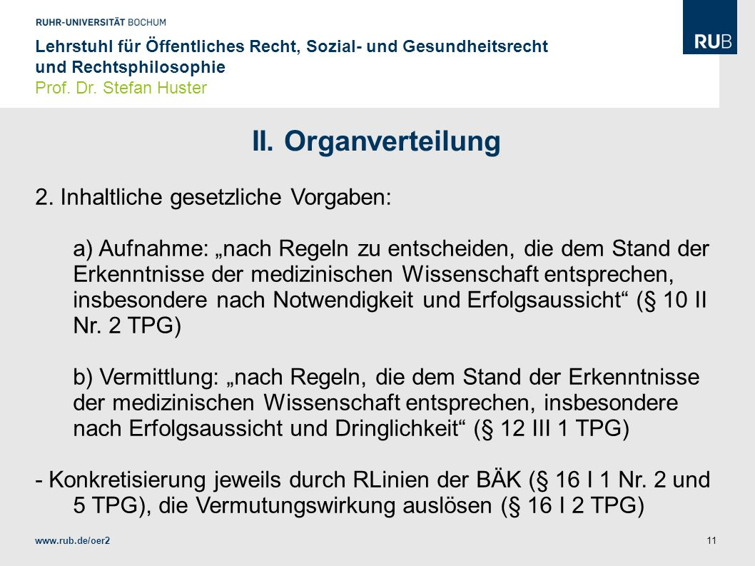 II. Organverteilung 2. Inhaltliche gesetzliche Vorgaben: