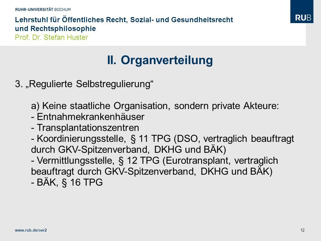 "II. Organverteilung 3. ""Regulierte Selbstregulierung"