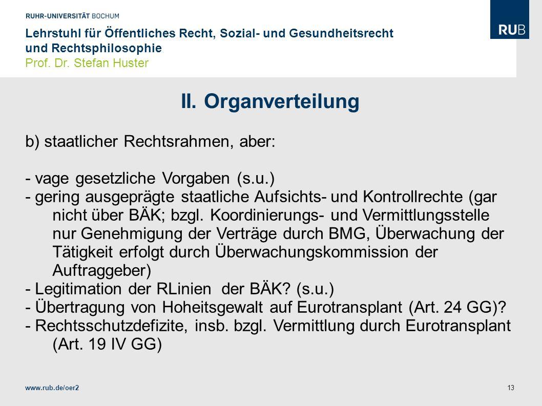 II. Organverteilung b) staatlicher Rechtsrahmen, aber: