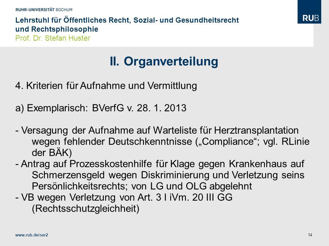 II. Organverteilung 4. Kriterien für Aufnahme und Vermittlung