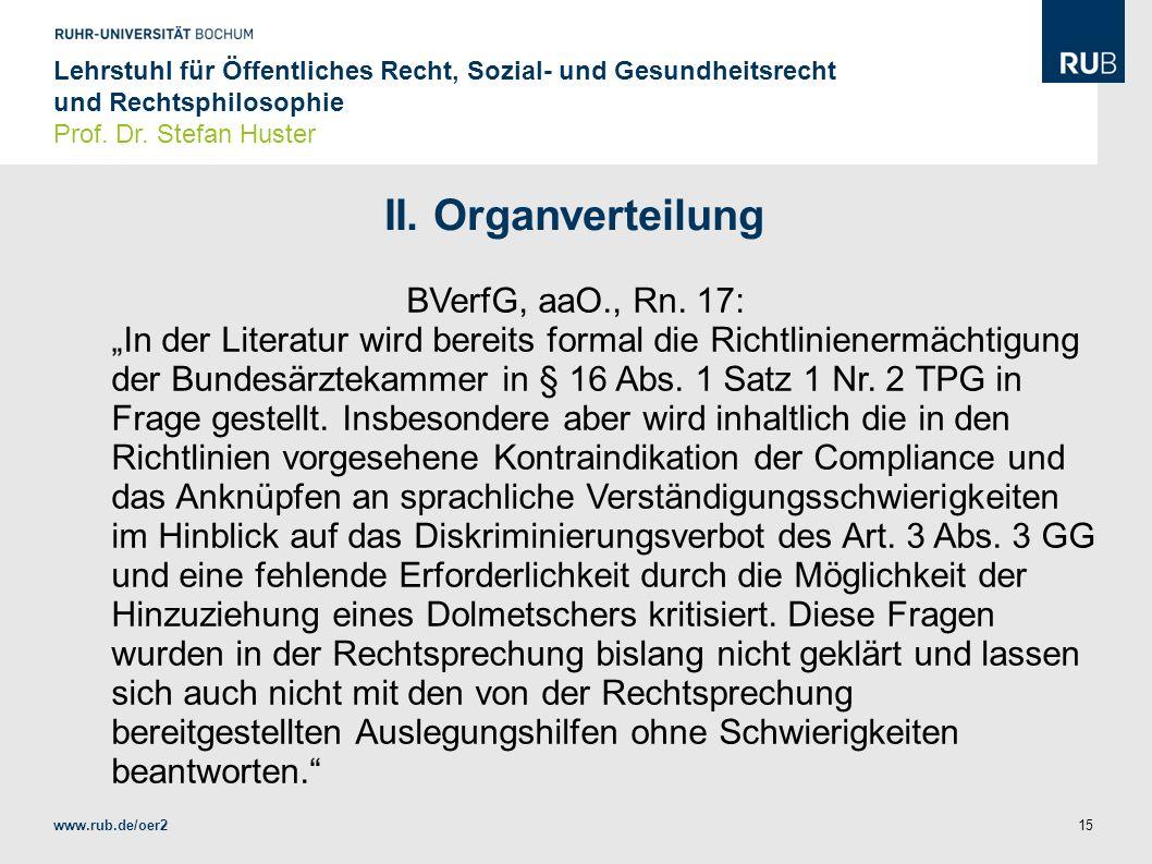 II. Organverteilung BVerfG, aaO., Rn. 17: