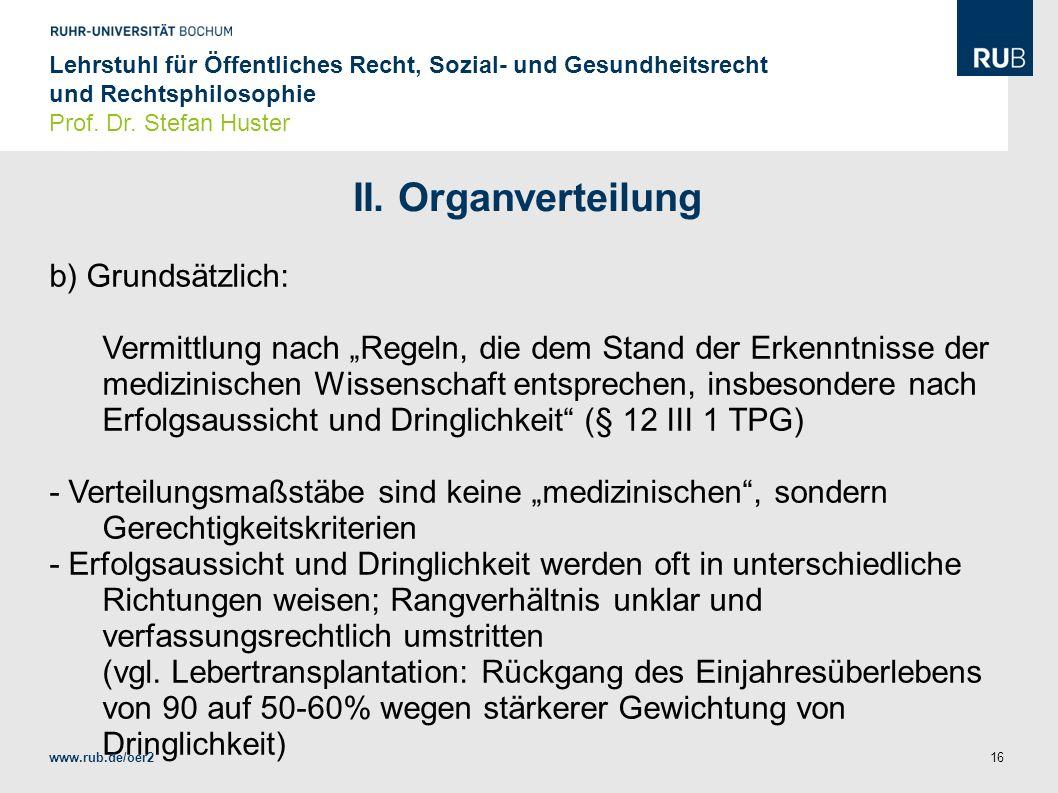 II. Organverteilung b) Grundsätzlich: