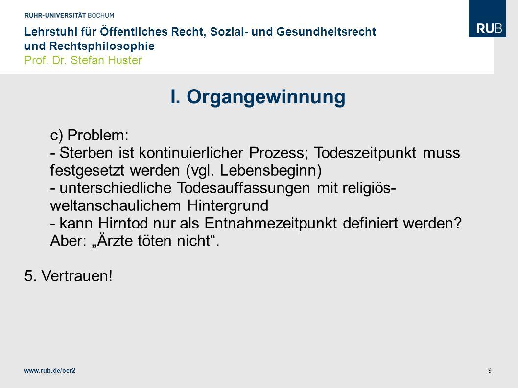 I. Organgewinnung c) Problem: