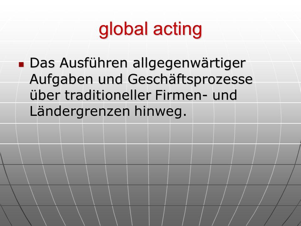 global acting Das Ausführen allgegenwärtiger Aufgaben und Geschäftsprozesse über traditioneller Firmen- und Ländergrenzen hinweg.