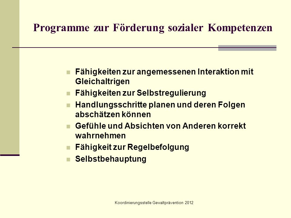 Programme zur Förderung sozialer Kompetenzen