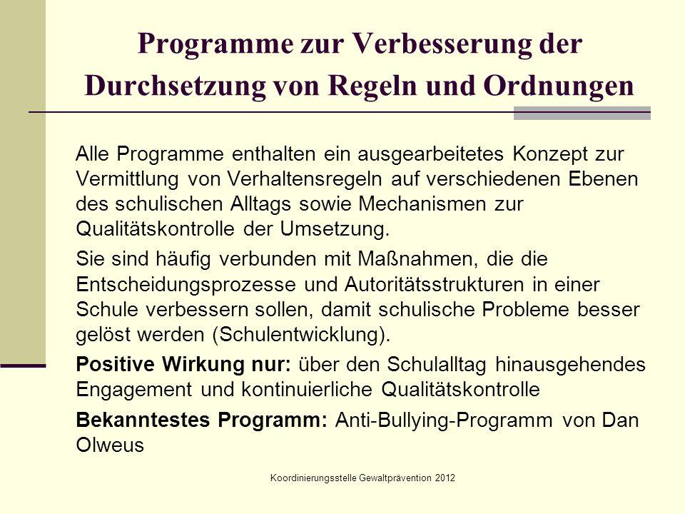 Programme zur Verbesserung der Durchsetzung von Regeln und Ordnungen