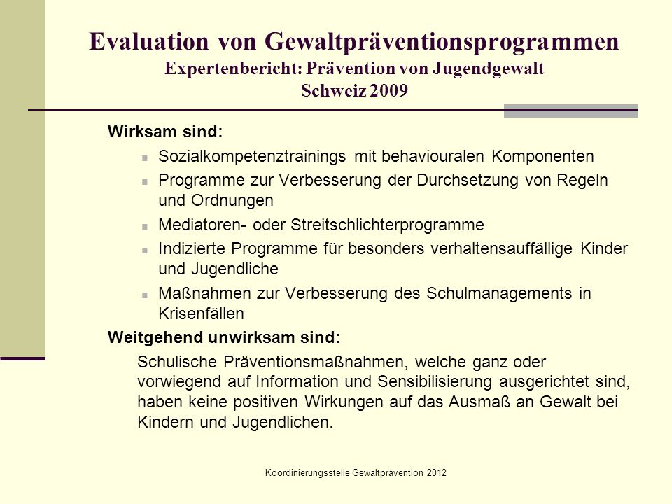 Koordinierungsstelle Gewaltprävention 2012