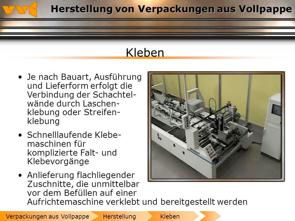 Herstellung von Verpackungen aus Vollpappe