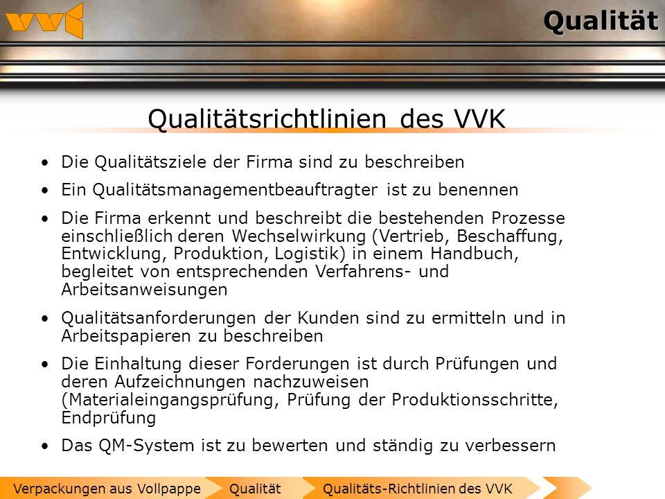Qualitätsrichtlinien des VVK