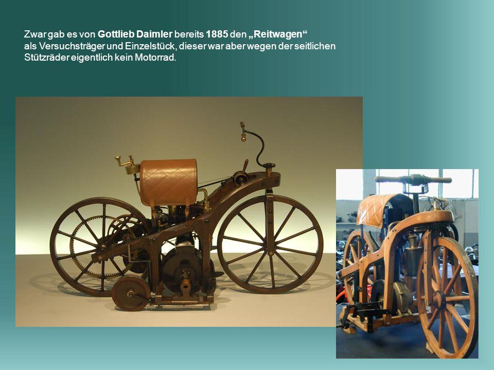 """Zwar gab es von Gottlieb Daimler bereits 1885 den """"Reitwagen"""