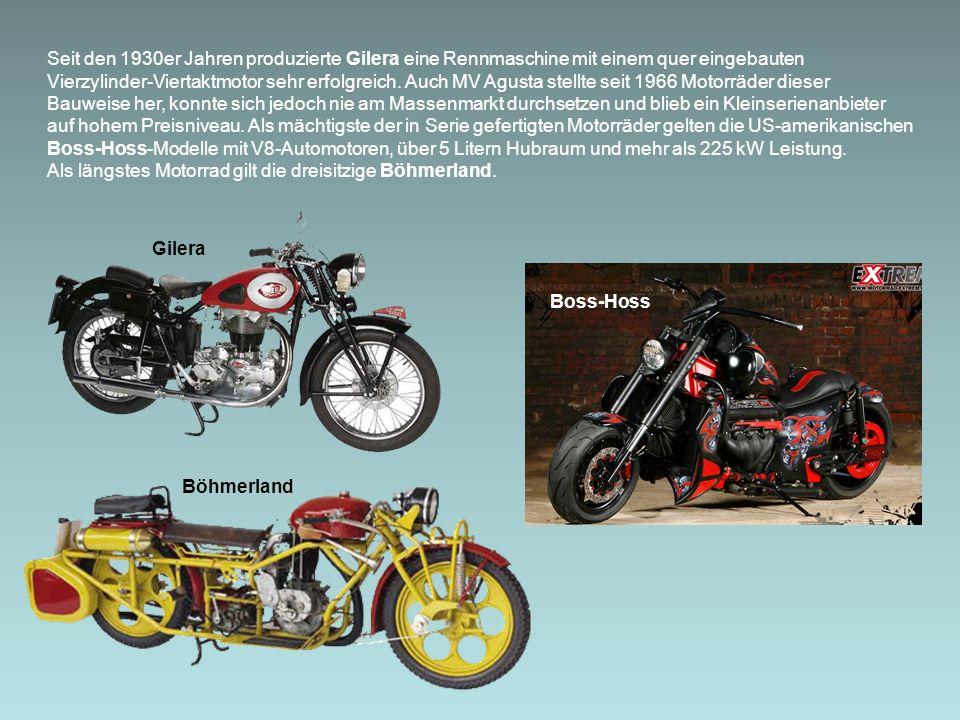 Seit den 1930er Jahren produzierte Gilera eine Rennmaschine mit einem quer eingebauten