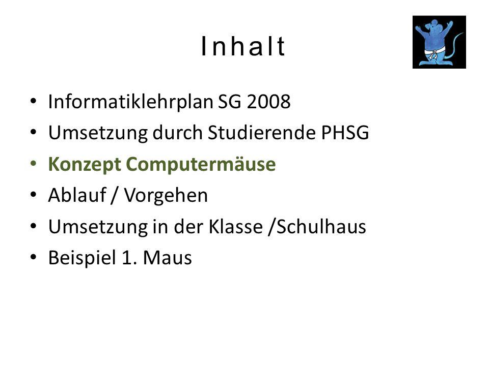 Inhalt Informatiklehrplan SG 2008 Umsetzung durch Studierende PHSG