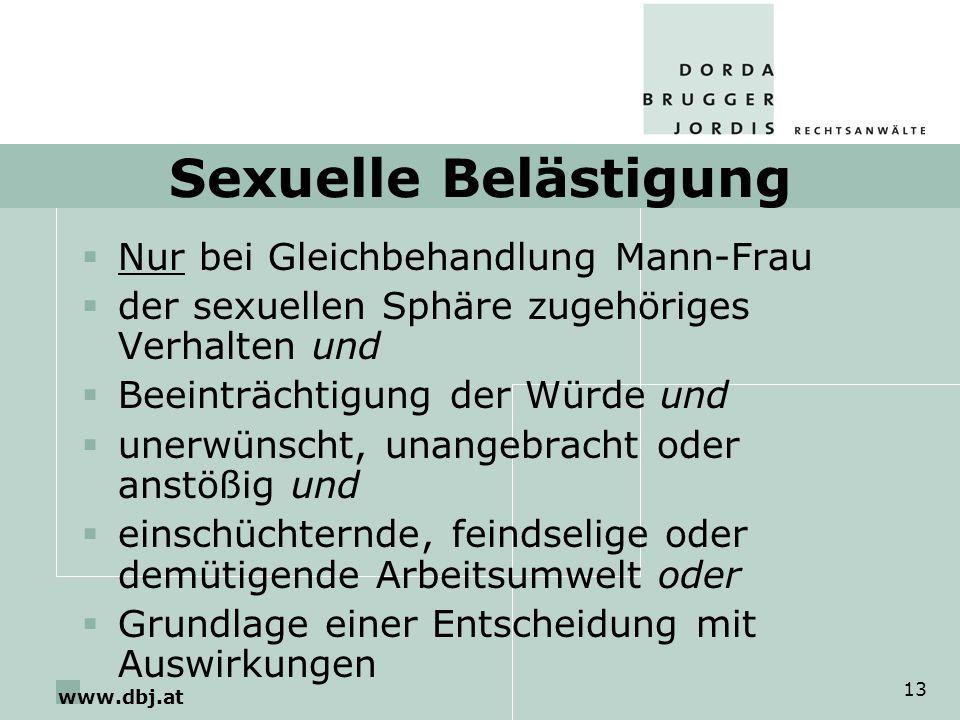 Sexuelle Belästigung Nur bei Gleichbehandlung Mann-Frau