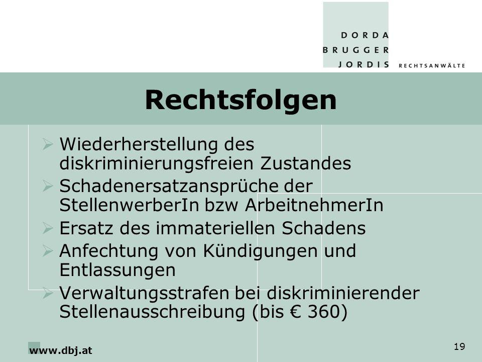 Rechtsfolgen Wiederherstellung des diskriminierungsfreien Zustandes