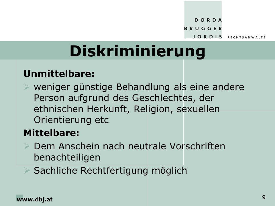 Diskriminierung Unmittelbare: