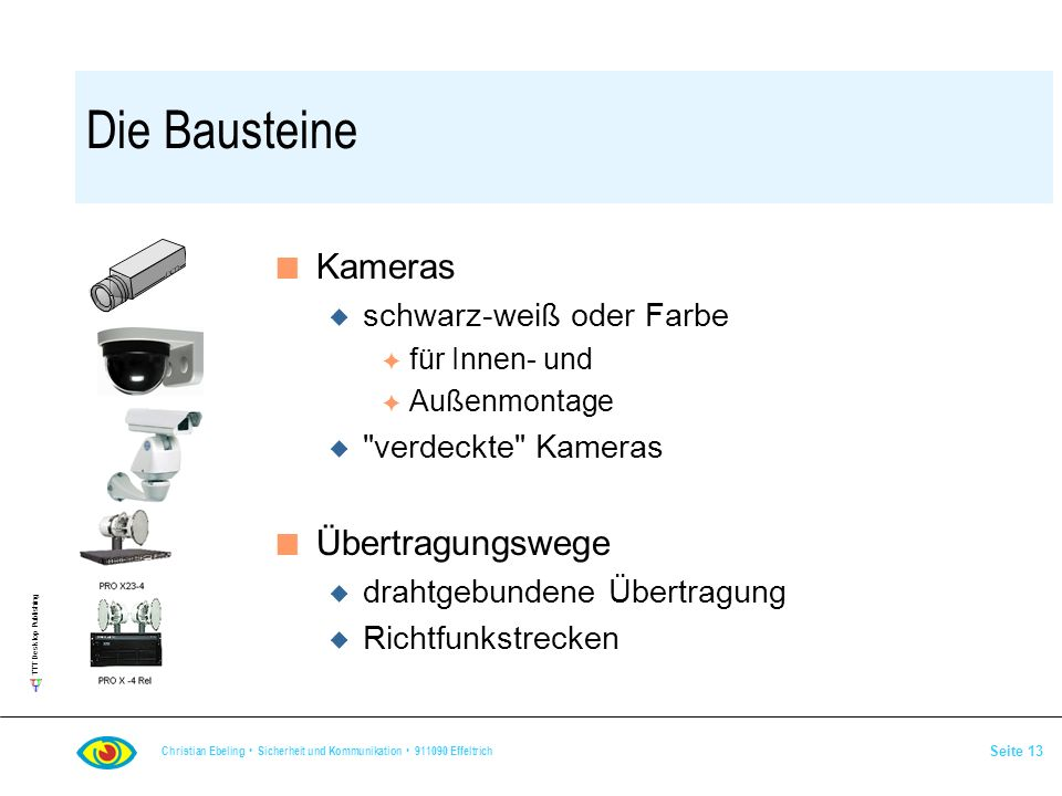 Die Bausteine Kameras Übertragungswege schwarz-weiß oder Farbe