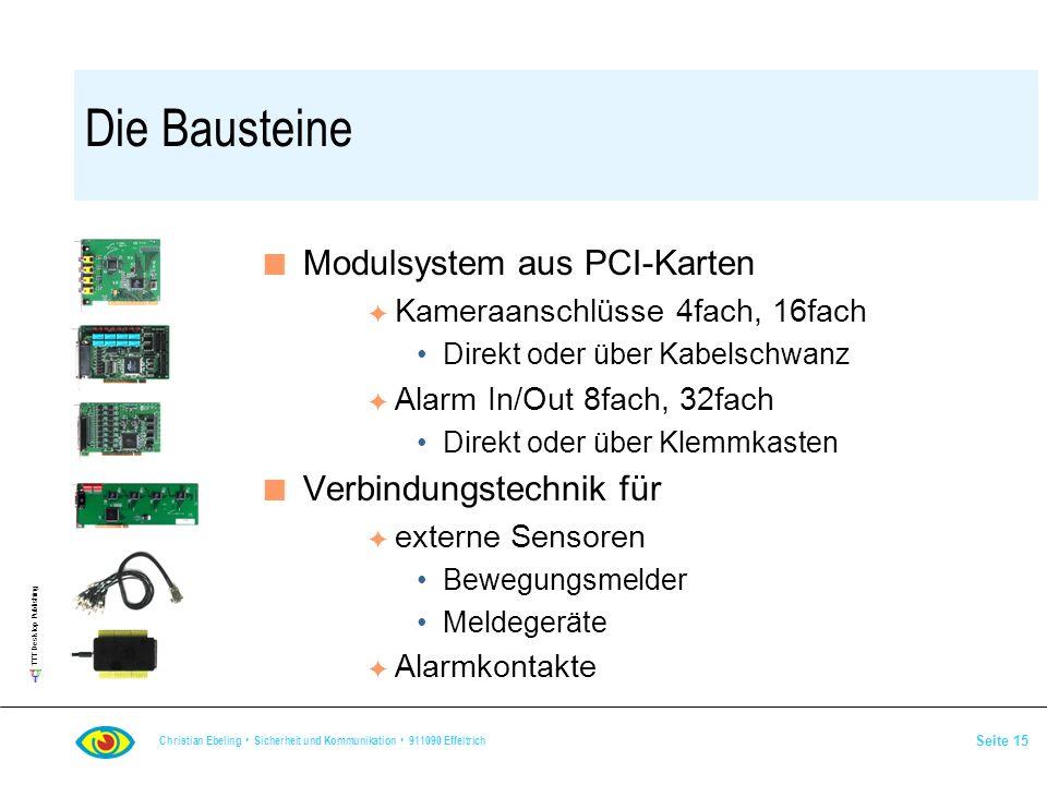 Die Bausteine Modulsystem aus PCI-Karten Verbindungstechnik für