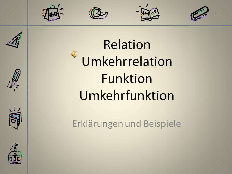 Relation Umkehrrelation Funktion Umkehrfunktion