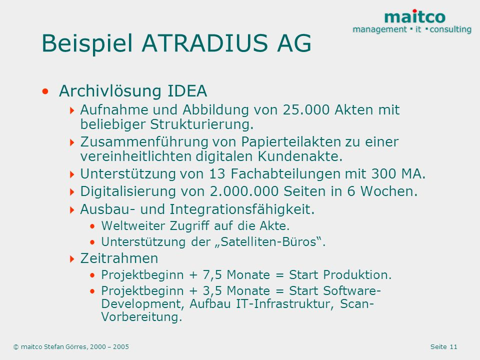 Beispiel ATRADIUS AG Archivlösung IDEA