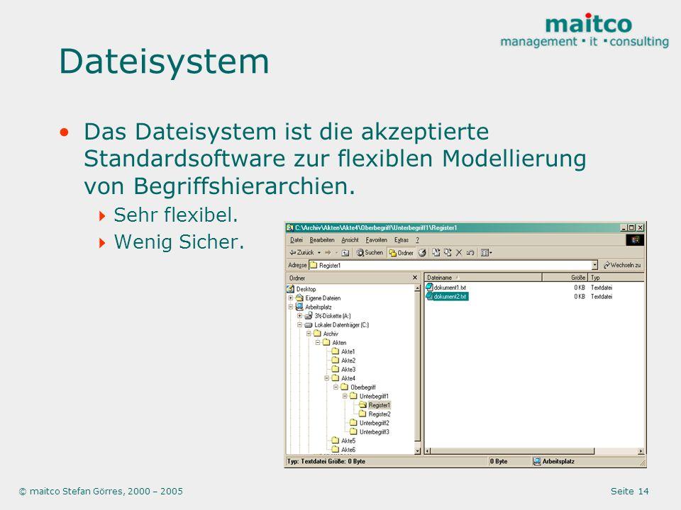 Dateisystem Das Dateisystem ist die akzeptierte Standardsoftware zur flexiblen Modellierung von Begriffshierarchien.