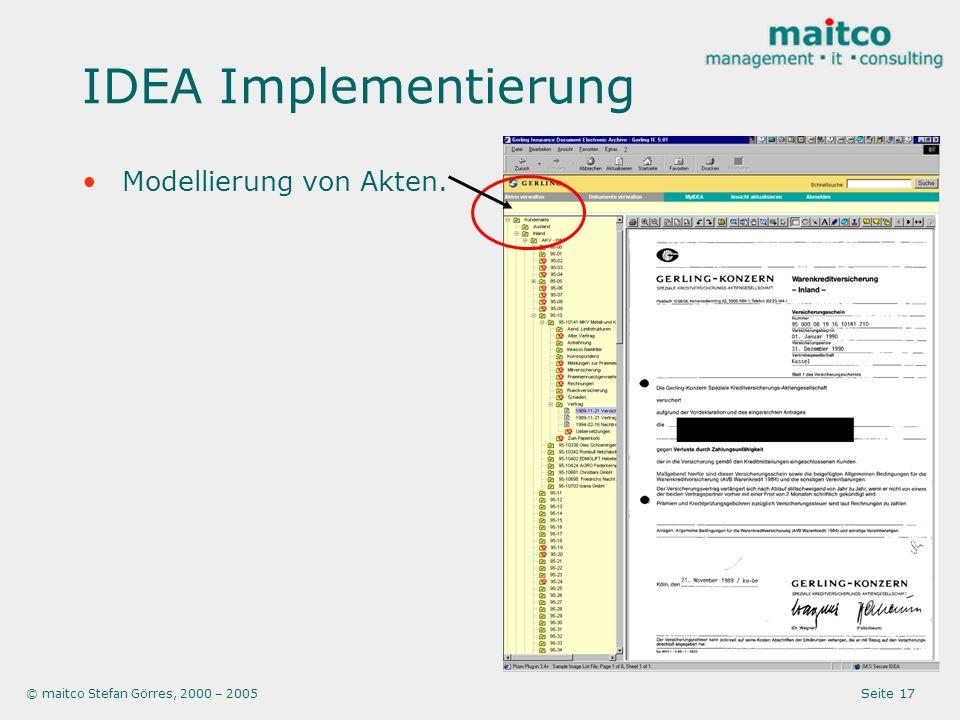 IDEA Implementierung Modellierung von Akten.