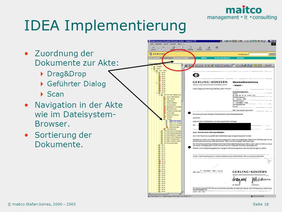 IDEA Implementierung Zuordnung der Dokumente zur Akte: