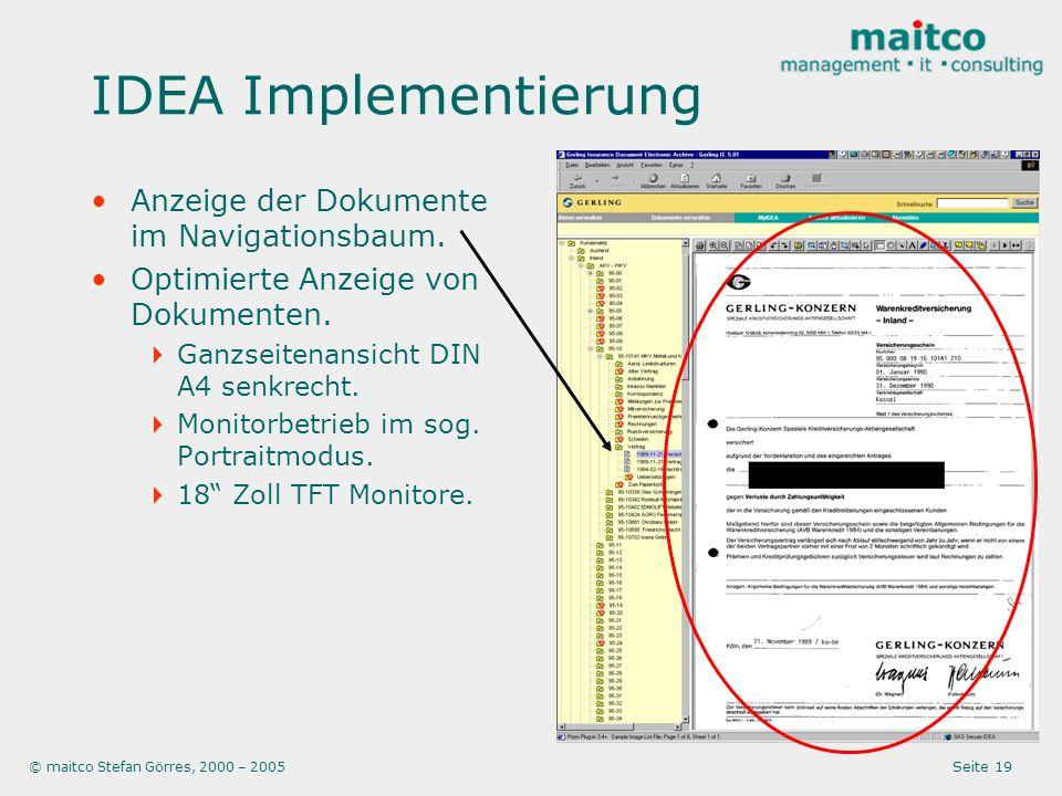 IDEA Implementierung Anzeige der Dokumente im Navigationsbaum.