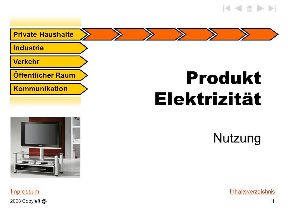 Produkt Elektrizität Nutzung Private Haushalte Industrie Verkehr